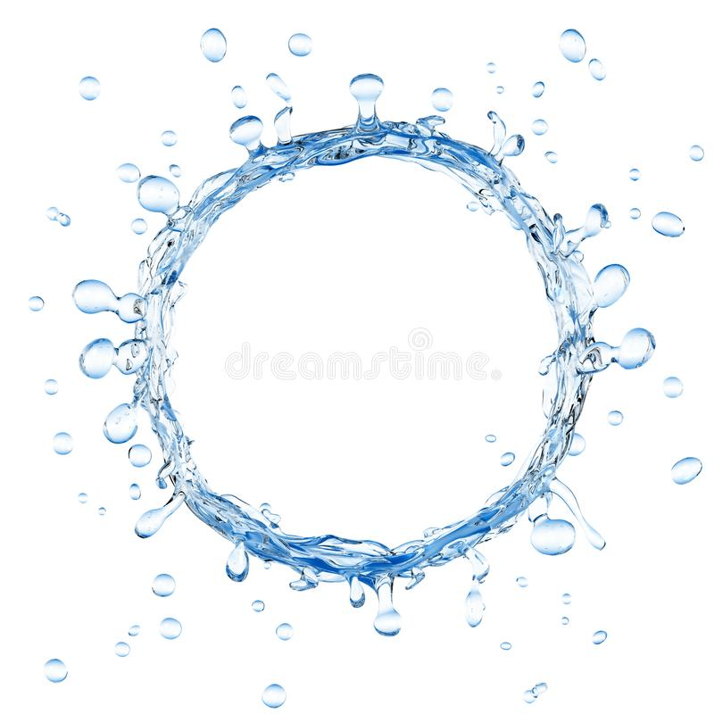 Water ring and splashing water droplets. 3d rendering of water ring and splashing water droplets vector illustration