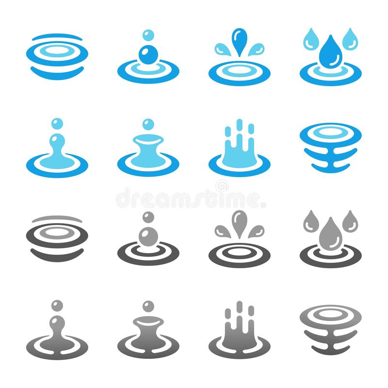 Water and ripple icon set. Colorful and gradient water and ripple icon set,vector and illustration royalty free illustration