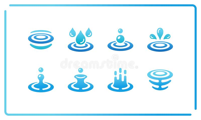 Water and ripple icon set. Colorful and gradient water and ripple icon set,vector and illustration stock illustration