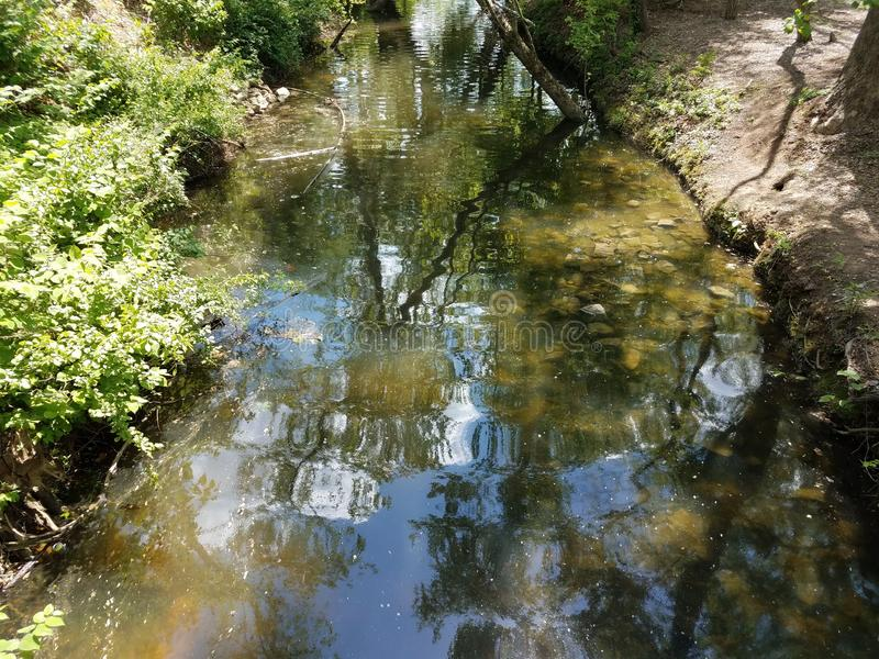 Water in river or stream with rocks and trees royalty free stock photo