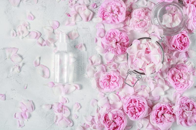 water from roses for beauty with roses and rose petals on the background royalty free stock images