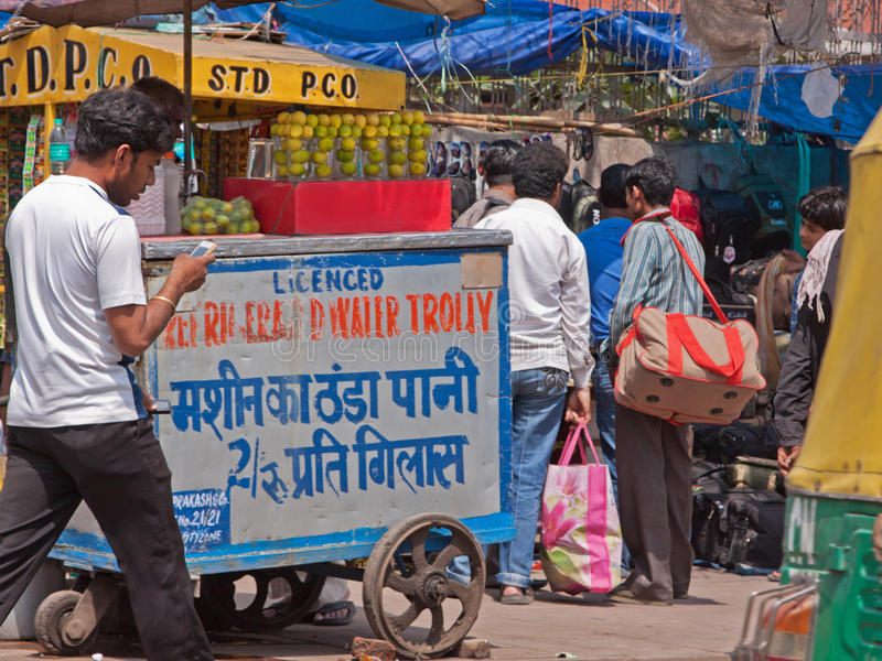 Water on Sale in Old Delhi royalty free stock photography