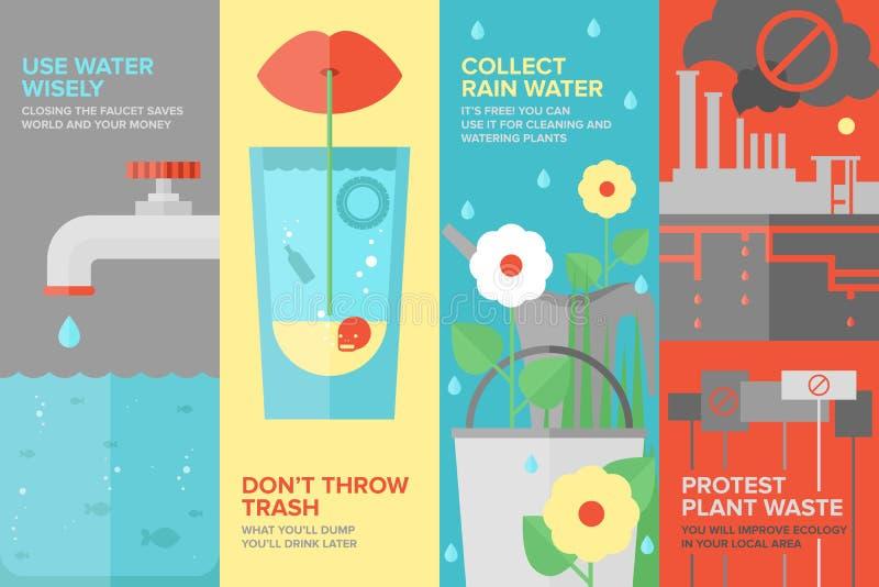Water savings flat banner set stock illustration