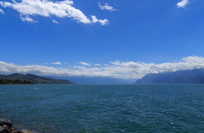 Water scape meer Leman Switzerland stock afbeelding