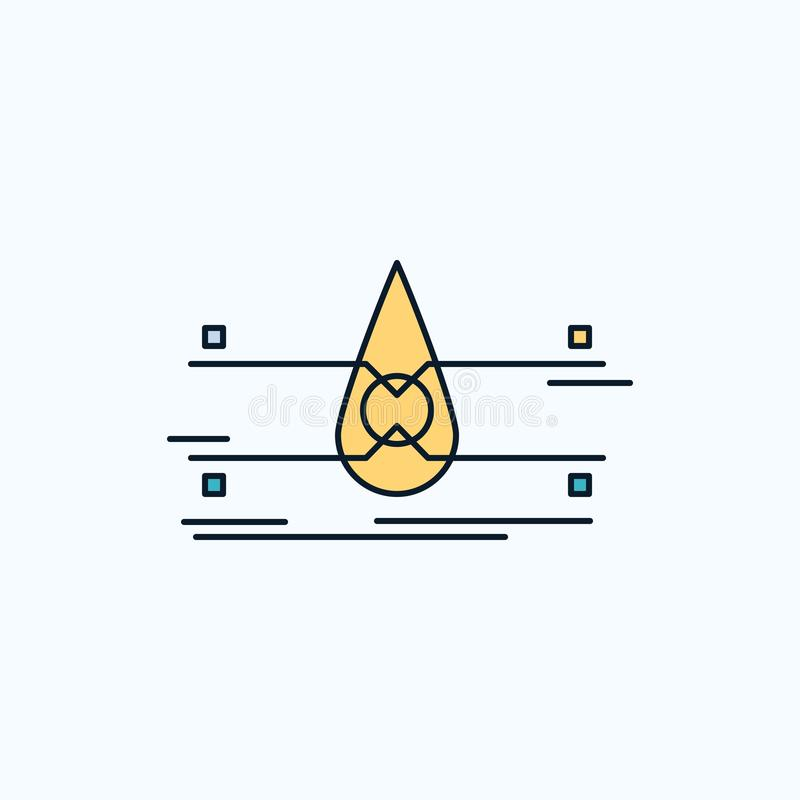 water, Schone Controle, Veiligheid, slim stads Vlak Pictogram groene en Gele teken en symbolen voor website en Mobiele appliation vector illustratie