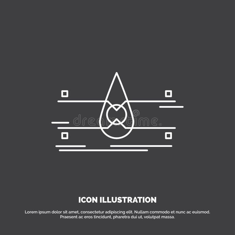 water, Schone Controle, Veiligheid, slim stadspictogram Lijn vectorsymbool voor UI en UX, website of mobiele toepassing vector illustratie