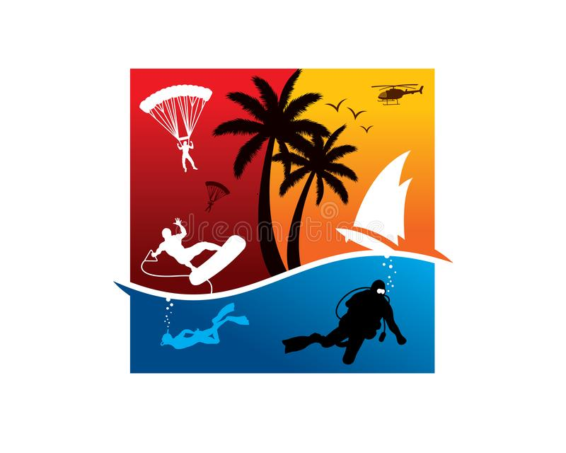Water vacation 3. Water sea beach vacation with many option like paraglider, helicopter, surf boarding, yachting and snorkling royalty free illustration