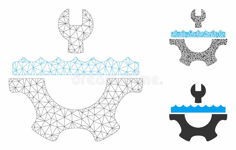 Water Service Gear Vector Mesh Wire Frame Model and Triangle Mosaic Icon. Mesh water service gear model with triangle mosaic icon. Wire carcass polygonal network stock illustration
