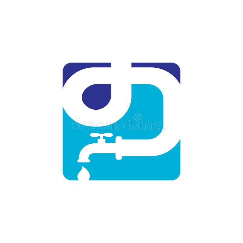 Water Service Plumbing Logo design vector sign Template. Plumber, icon, pipe, business, symbol, work, concept, company, professional, tool, brand, repair royalty free illustration