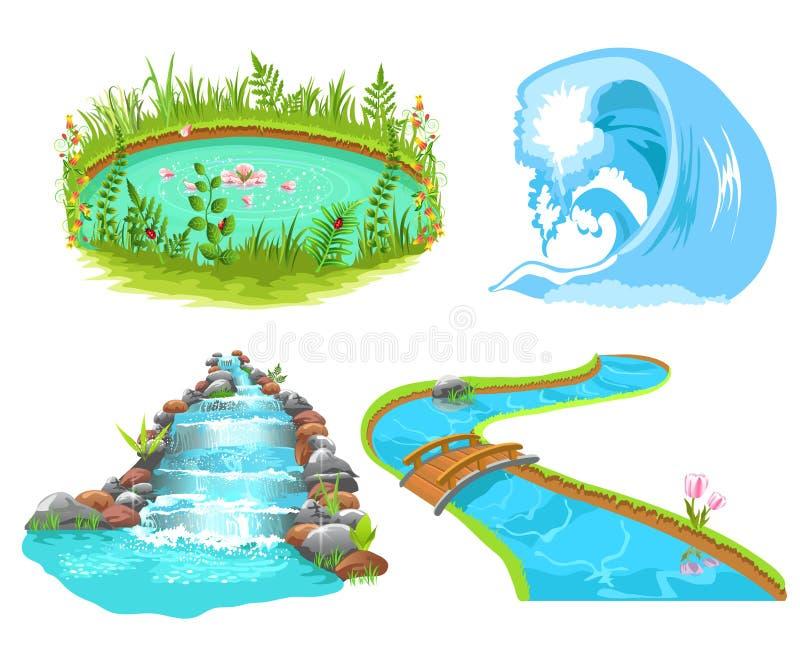 Download Water set stock vector. Image of graphic, outdoor, flowing - 32487615