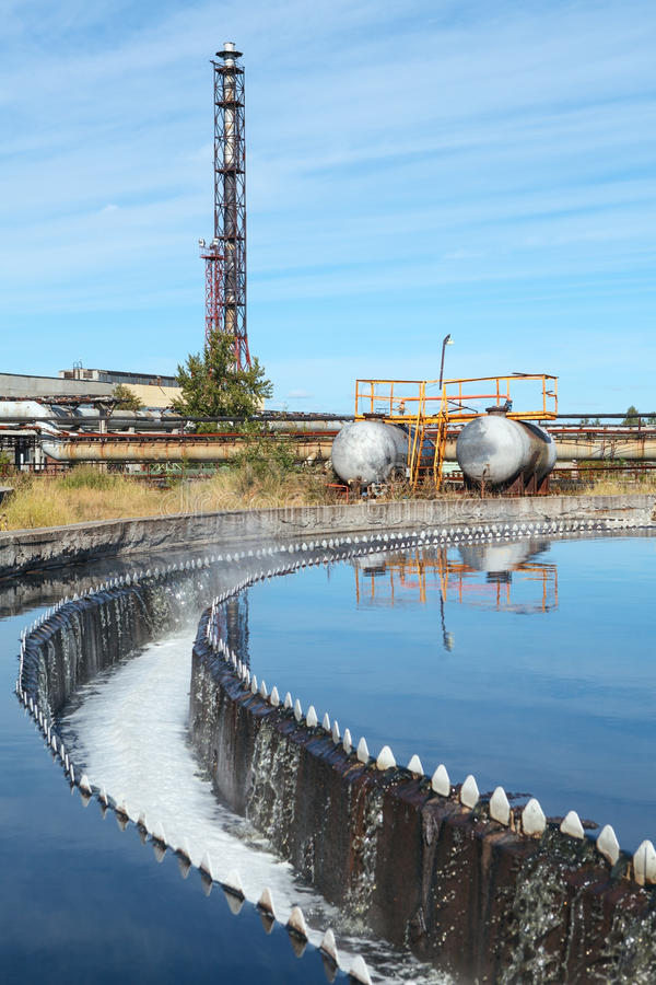 Water settling, purification and recycling on industrial treatment plant royalty free stock photos