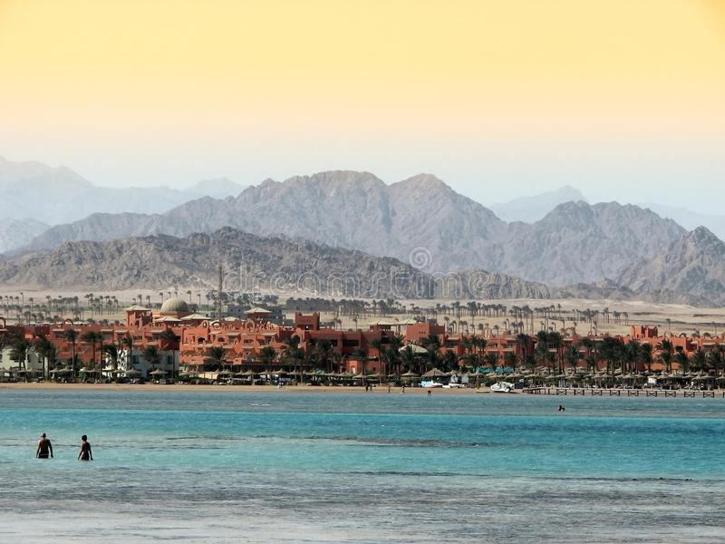 Water in Sharm. Lazur of water over in Sinai mountains in Sharm El Sheikh, Egypt stock images