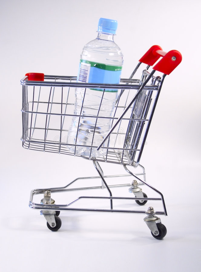 Water shopping cart royalty free stock photo