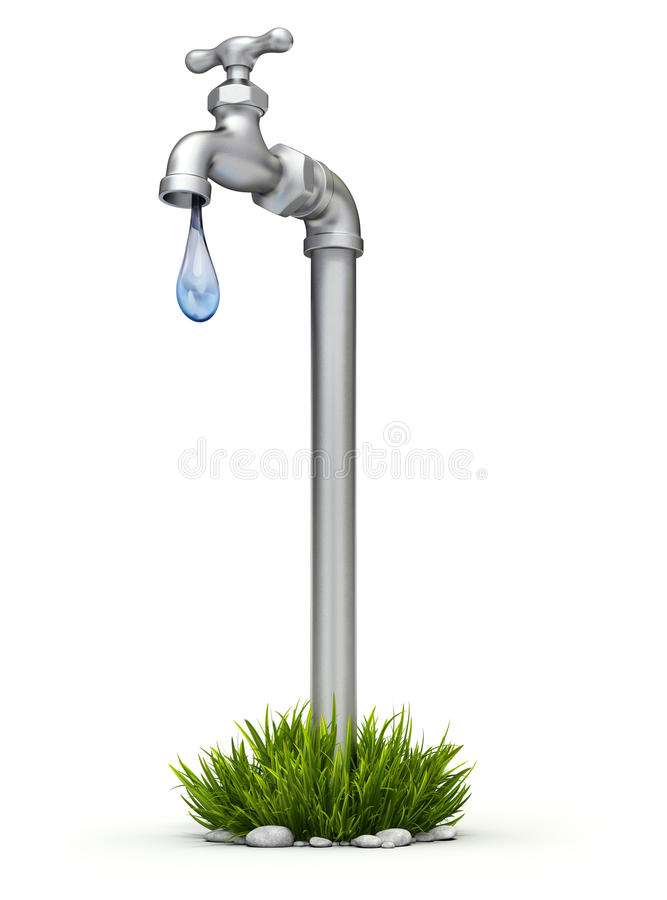 Water shortage concept. 3D concept with the faucet and blue droplet royalty free illustration