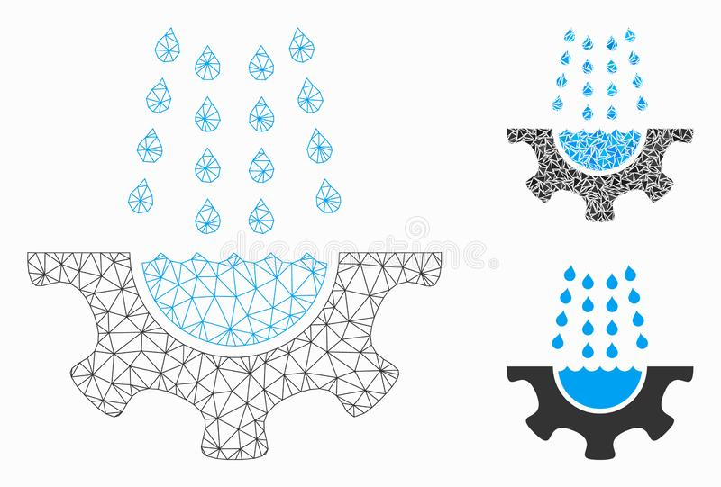 Water Shower Service Gear Vector Mesh 2D Model and Triangle Mosaic Icon. Mesh water shower service gear model with triangle mosaic icon. Wire frame polygonal stock illustration
