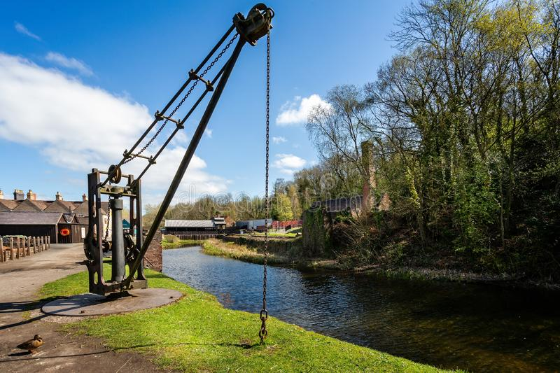 Water side ship hoist in Blists Hill Victorian Town in Ironbridge, Shropshire, UK. On 10 April 2019 royalty free stock photos