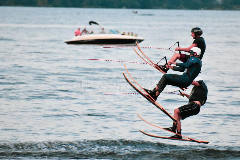 Men in action. At the Water Ski show, Bala stock photo