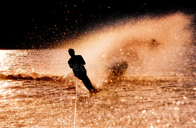 Download Water Skier Silhouette stock image. Image of silhouette - 6142055