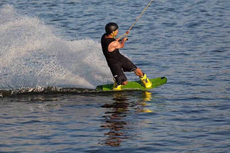 Water skiing on the board royalty free stock images
