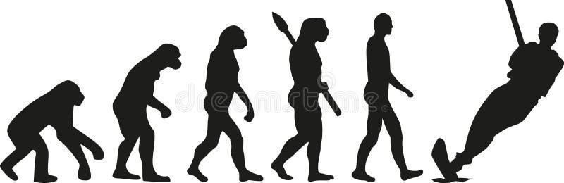 Water skiing evolution stock illustration