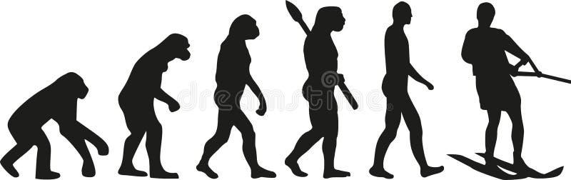 Water skiing evolution vector illustration