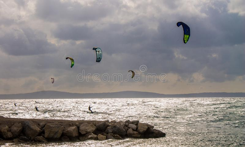 Water skiing on the sea horizon, Split, Croatia royalty free stock images