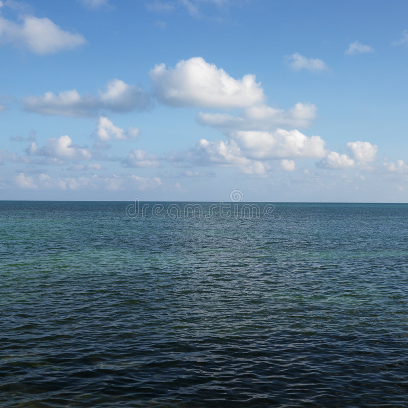 Water and sky in Florida Keys, Florida, USA. Calm water and blue sky with white puffy clouds in Florida Keys, Florida, USA royalty free stock image