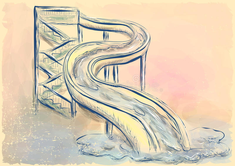 Water slide. Abstract image with aquapark theme royalty free illustration