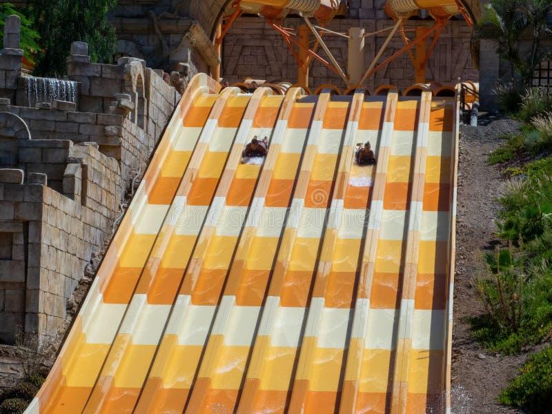 Water slide at Aqualand park in Maspalomas, Gran Canaria. Gran Canaria/Spain - August 20 2019: Aqualand is a chain of Spanish water-amusement parks. Maspalomas royalty free stock photo