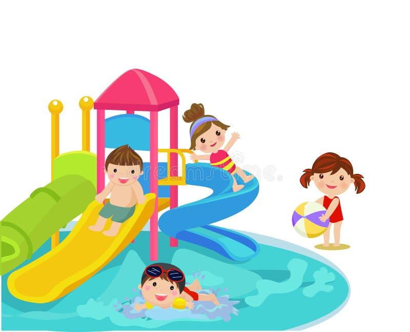 Water slide for family and children. stock illustration