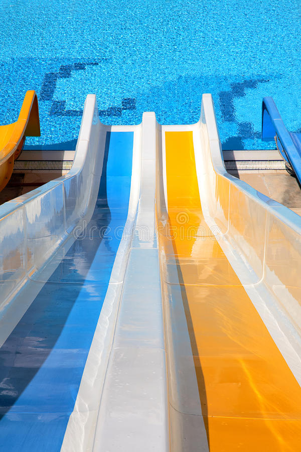 Water slide with pool. Top point of view of water slide with pool stock photos