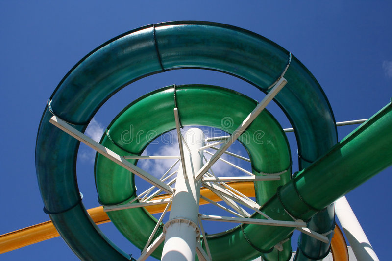 Water slide spiral stock photo