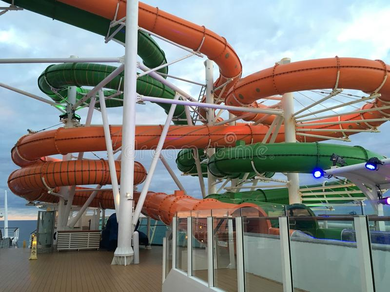 Water slides onboard cruise ship Liberty of the Seas. Royal Caribbean International cruise line stock images