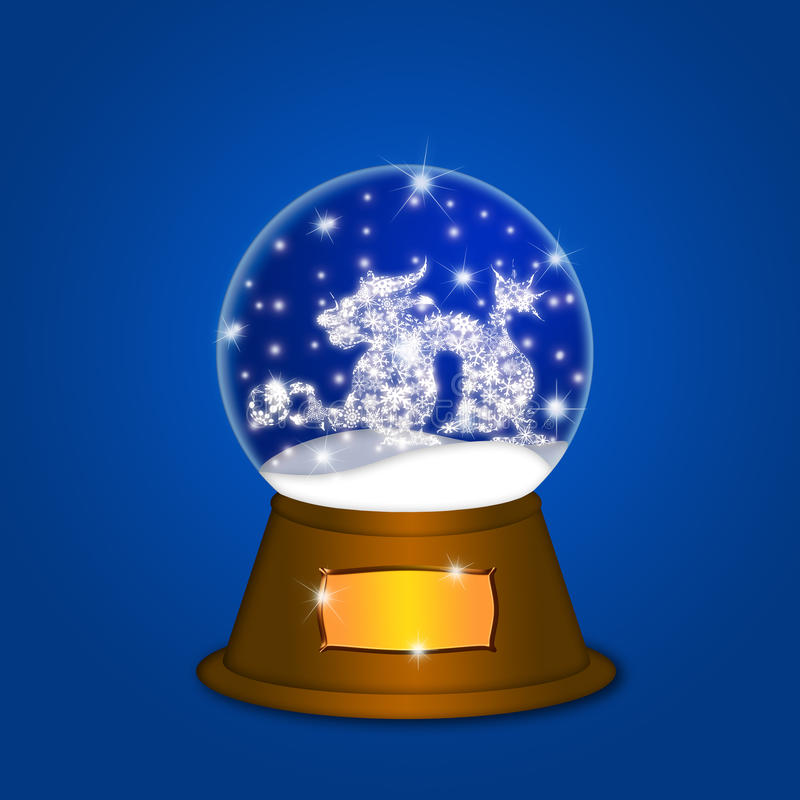 Download Water Snow Globe With Chinese Dragon Blue Stock Illustration - Illustration: 22499086