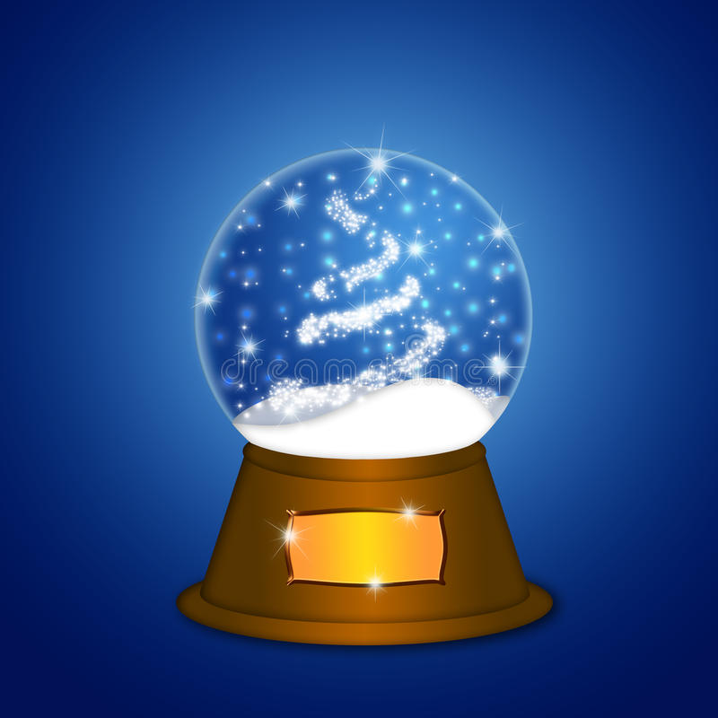 Download Water Snow Globe With Christmas Tree Sparkles Stock Illustration - Image: 22450052