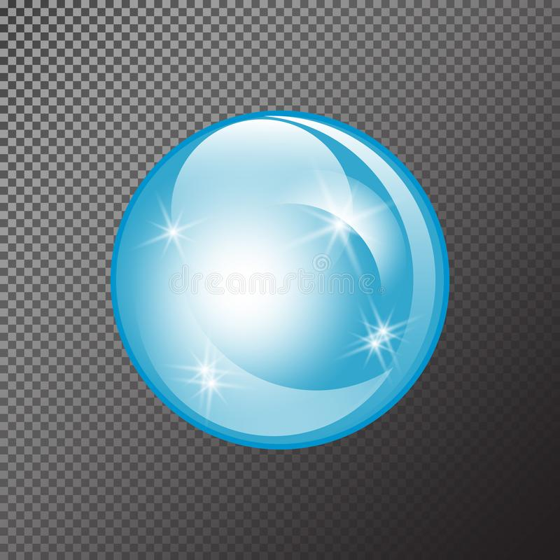 Water soap bubble with soft shadow.. Transparent Isolated Realistic Design Elements stock illustration
