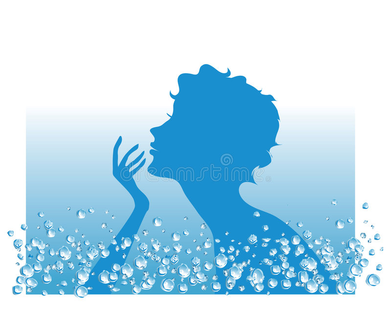 Water in SPA procedures. Silhouette of a lady in water beauty procedure