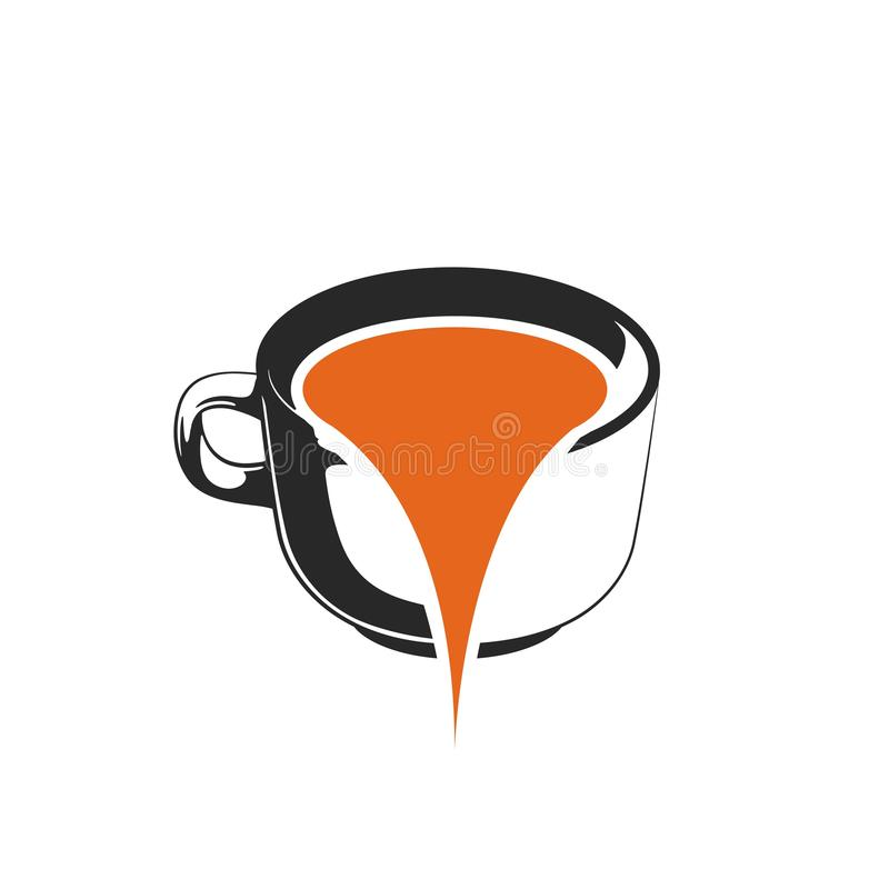water spilled from coffee cups vector illustration logo template royalty free illustration