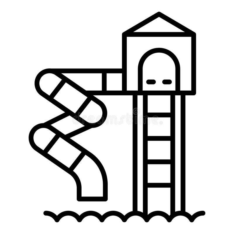 Water spiral slide icon, outline style vector illustration