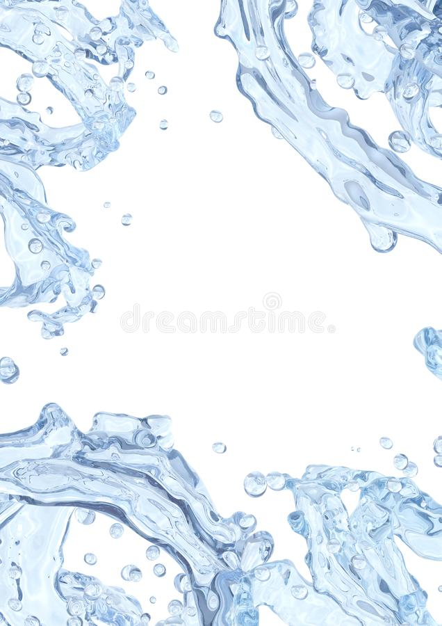 Water splash with water droplets isolated. Liquid template design element. 3D illustration. royalty free illustration