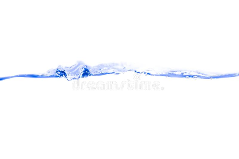 Water splash blue ink and bubbles of air show the motion on white background stock images