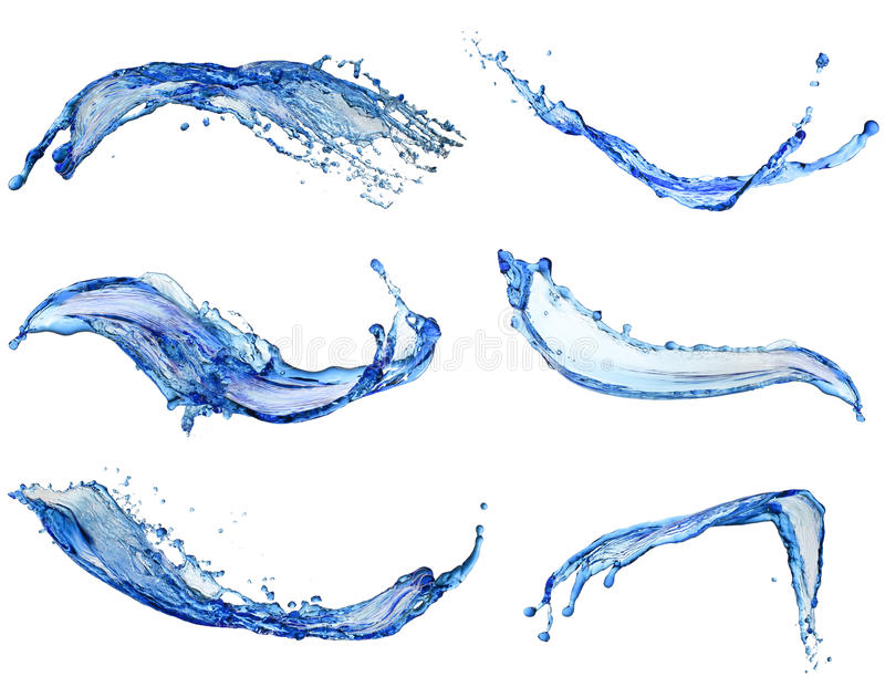Water splash collection isolated on white background royalty free stock photos