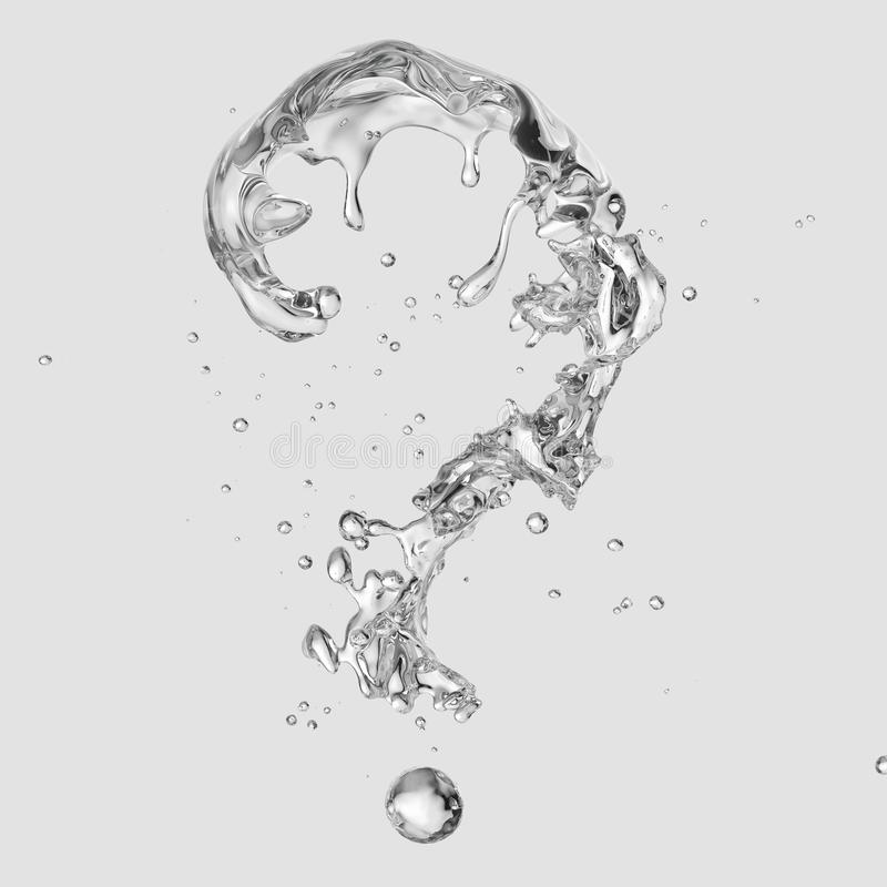 Water splash with water droplets isolated. 3D illustration. Water splash with water droplets in the form of question mark isolated on light background. 3D stock illustration