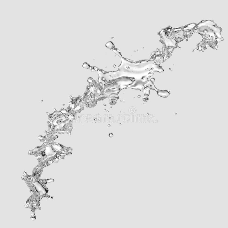 Water splash with water droplets isolated. 3D illustration. Water splash with water droplets isolated on light background. 3D illustration vector illustration
