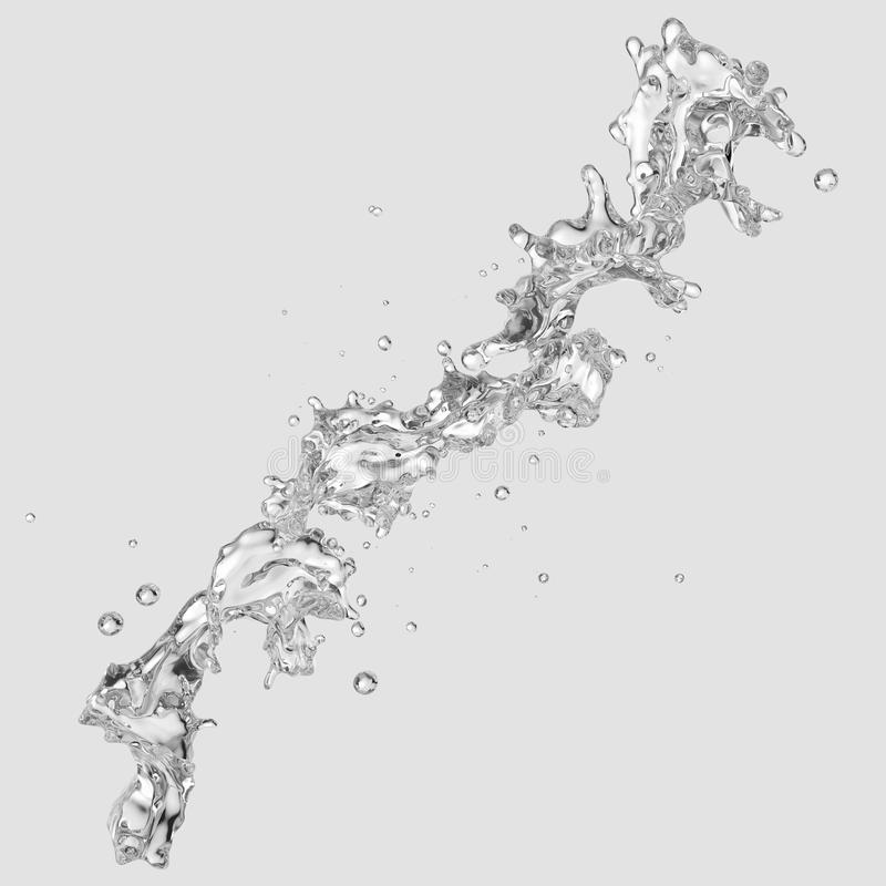 Water splash with water droplets isolated. 3D illustration. Water splash with water droplets isolated on light background. 3D illustration royalty free illustration