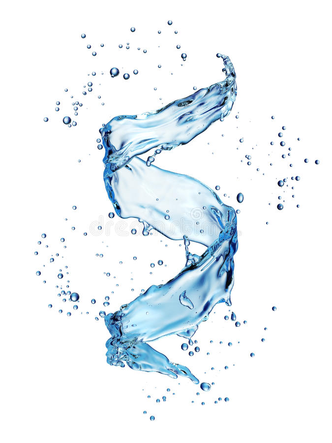 Water splash in the form of spiral blue color stock illustration