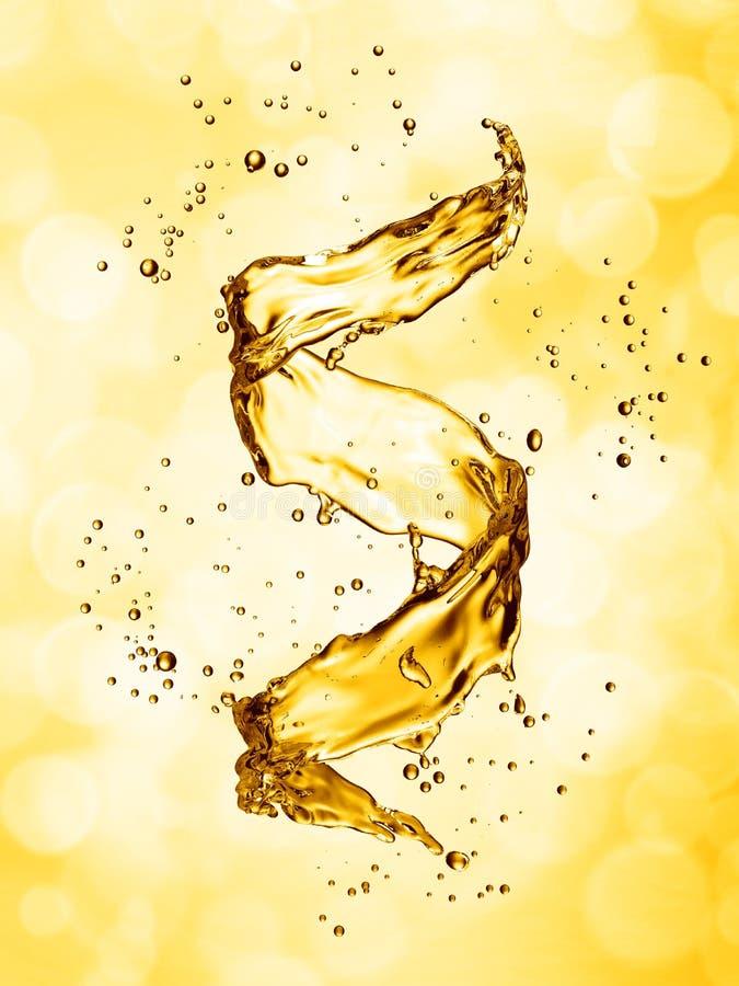 Water splash in the form of spiral gold color. 3D illustration vector illustration