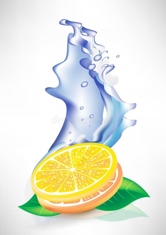Water splash and fresh lemon slices stock illustration