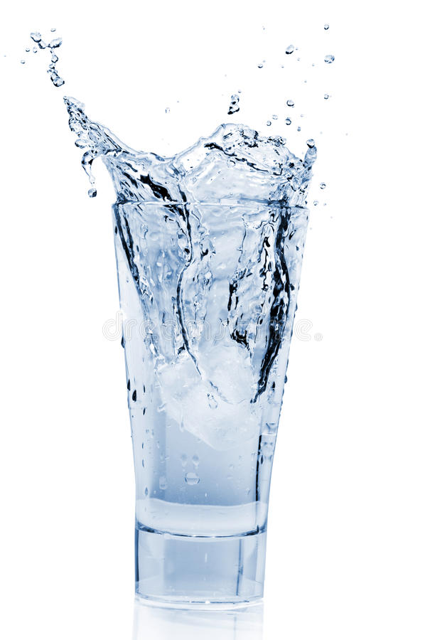 Water Splash in Glass stock images