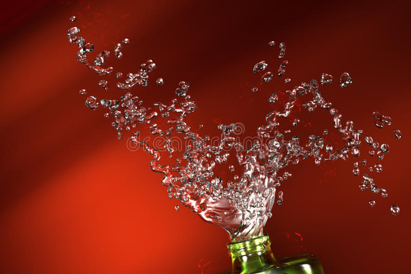 Water splash illustration. Three dimensional rendered illustration of splashing drops of water, isolated on red background royalty free illustration
